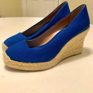Bright Royal Blue Espadrille Wedges